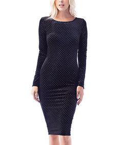 Look at this #zulilyfind! Black & Gray Polka Dot Bodycon Dress #zulilyfinds