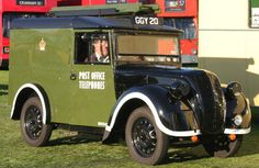 A wartime Morris series Z telephone utility in original wartime colours, complete with blackout markings. Vintage Vans, Vintage Trucks, Classic Trucks, Classic Cars, Royal Mail Post Office, Old Commercials, Thing 1, Classic Motors, Commercial Vehicle