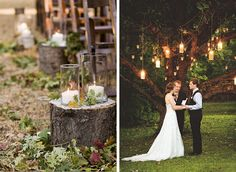 I really enjoy the look of the stump and hurricane hurricane vase with simple candle as aisle decor.   Post from boytiesandbliss.com. Photos as posted on #stylemepretty and #brides.