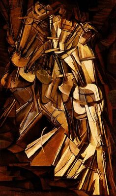 Duchamp's Nude Descending a Staircase Duchampin Alaston laskeutuu portaita on esimerkki toistosta ja rytmistä. Värit ovat murretut, maanläheiset, yksiväriharmonia. Kuvassa paljon vinolinjoja - diagonaaleja.