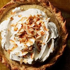 """For a sweet, billowy dessert, try Martha Stewart's banana cream pie recipe. This delicious banana cream pie recipe is adapted from """"Martha Stewart's Baking Handbook,"""" and it is one of Martha's favorite recipes because it's pure banana and pure cream. Coconut Custard, Coconut Cream, Pie Recipes, Dessert Recipes, Custard Recipes, Baking Desserts, Easy Recipes, Double Coconut, Sara Foster"""