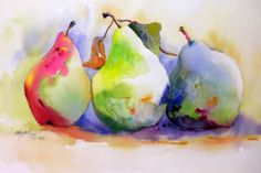 Watercolor Artists International - Contemporary Fine Art International: Pears Trio Tree-o - Kay Smith