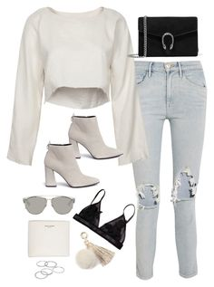 """""""Sem título #4883"""" by fashionnfacts ❤ liked on Polyvore featuring 3x1, Stuart Weitzman, Gucci, Christian Dior, Yves Saint Laurent, Juicy Couture and Apt. 9"""