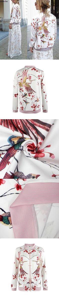 Bomber Jacket Floral Printed 2017 Autumn Women Phoenix Kimono Jacket Japan Female Outwear Jackets Coats Jaqueta Feminina Casaco