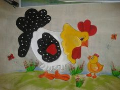 pintura en tela gallina