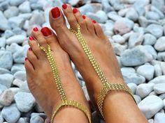 Gold Rhinestones faux Modern Barefoot Sandals; Foot Jewelry Sexy Summer Beachwear Accessory; bridal accssories, Beach Wedding by Kreacje on Etsy