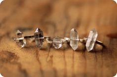 Herkimer Diamond Ring, Sterling Silver Rivet - Custom Stone, Sizing. $48.00, via Etsy.