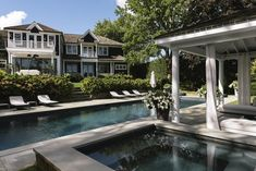 Water Mill House Poolside and Cabana | Peaceful views and reflection to start the weekend Small House Interior Design, House Design, Interior Architecture, Interior And Exterior, Shingle Style Homes, Water Mill, Cabana, Mansions, House Styles