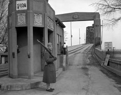 Homeland Security in 1942 -- Shortly after the attack on Pearl Harbor, guards were stationed at bridges across the Mississippi River, including the traffic bridge at Cape Girardeau. By Feb. 21, 1942, when this photo was made, Army regulars from Fort Custer, Mich., had taken over guard duty here.