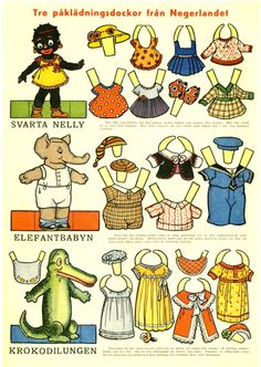 Swedish paper dolls....except for Nellie....she's not an animal!