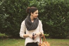 Chunky knit sweater, big scarf, sock bun, pearl studs
