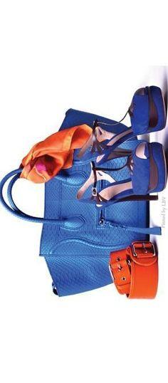 Gorgeous blue Céline Phantom python bag paired with blue suede Fendi platform sandals. Add orange pop with the Carolina Herrera vintage silk scarf and DVF tangerine leather belt  | LBV ♥✤ | BeStayBeautiful