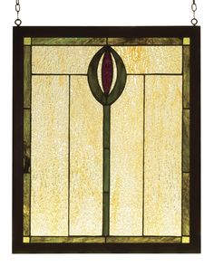 14 Inch W X 17 Inch H Spear Wood Frame Stained Glass Window