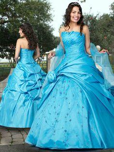Vestido De Quinceanera Azul de Tafetán de Vestido de Fiesta de Hasta suelo Strapless Con Rosarios at pickedlook.com