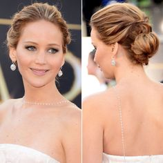 From Blake Lively's tousled plait and Beyonce's beehive to the Duchess of Cambridge's chignon and Rosie Huntington-Whiteley's sleek bun, take party hair inspiration from the best celebrity red carpet updos... Jennifer Lawrence at the Oscars, 2013 Getty Images - HarpersBAZAAR.co.uk