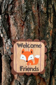 I love this cute welcome sign for a forest friends themed birthday party.