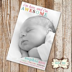 DIY Printable I'm Here Birth Announcement, Baby Shower, Birth Announcement, Photo Invitation....by Maxim Creative Invites. $13.00, via Etsy.