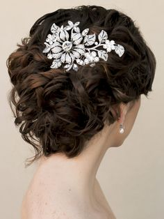 Dramatic rhinestone flower bridal hair comb in a curly updo by Hair Comes the Bride.
