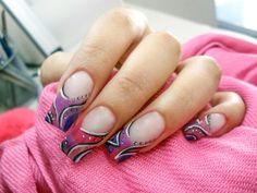 Pink and purple nail art.