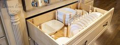 Need to get your dish drawer organized? See this easy how to - dish drawer organizer for quick easy steps.