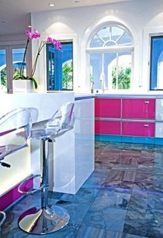 Kitchen with Fuchsia Accents