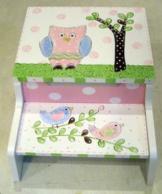Hand Painted Step Stool Owl and Birdies by SassyfrasDesignz