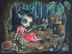 """""""Kingdom of Pinecone"""" by Laura Colors of 64 Colors! I've been in love with everything 64 Colors does for a very long time…. However, I MUST say that Laura's painting are my favorite! Figure Painting, Painting & Drawing, Tree Of Life Painting, Watercolor Girl, Macabre Art, Art Addiction, Pop Surrealism, Whimsical Art, Contemporary Artists"""