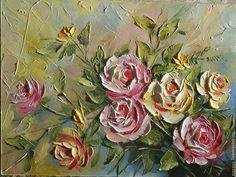 Купить или заказать Садовые розы в интернет-магазине на Ярмарке Мастеров. Использованы кисти и мастихин, что дает работе дополнительный объем.