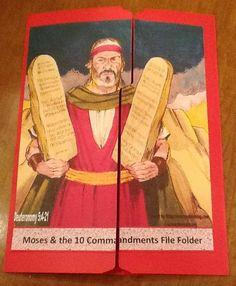 Bible Fun For Kids: Moses and the 10 Commandments file folder game Catholic Crafts, Catholic Kids, Kids Church, Church Crafts, Bible Crafts For Kids, Bible Lessons For Kids, Kids Bible, Children's Bible, Free Bible