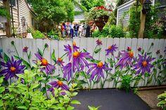 A great garden fence on Garden Walk Buffalo. Garden Fence Art, Backyard Fences, Backyard Landscaping, Garden Totems, Garden Junk, Diy Fence, Garden Sheds, Glass Garden, Mural Floral