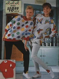 """80's fashion. I loved the shoulder pads in the sweater and sweatshirts! The stirrup pants were great, after you sat in class and then got up you had """"puffy, knee bumps"""" in the legs for the rest of the day! LOL"""