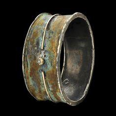 "Bracelet | Gigi Mariani Gioielli. ""Embrace'.  Sterling silver, 18kt, yellow gold, diamond, patina"