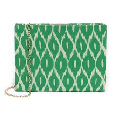 Ikat Ya Lata Green Print Clutch ($32) ❤ liked on Polyvore