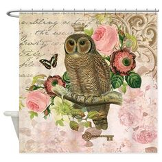Vintage French shabby chic owl Shower Curtain on CafePress.com