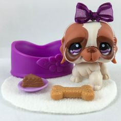 Littlest Pet Shop Brown & Cream St. Bernard #1118 w/Purple Eyes & Accessories #Hasbro