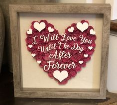 Excited to share this item from my shop: I Will Love You Shadow Box. Flower Shadow Box, Flower Box Gift, Flower Boxes, Bridal Gifts, Wedding Gifts, Flower Girl Bouquet, Bouquet Flowers, Best Gifts For Him, Valentine Day Gifts