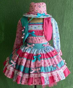 Opções De Vestido Infantil Para Festa Junina Com Estampa Xadrez