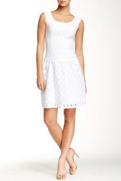 Adrianna Papell Drop Waist Lace Dress