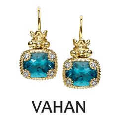 VAHAN earrings made of 14k gold, sterling silver, blue topaz and diamonds