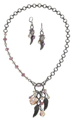 Single-Strand Necklace and Earring Set with Swarovski Crystal Beads and Drops, Oxidized Pewter Charms and Gunmetal-Plated Brass Chain - Fire Mountain Gems and Beads