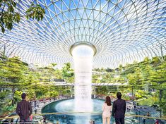 Terminal 4's main feature at Singapore Airport will be a giant waterfall from the roof