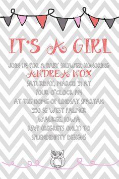 Owl Invite Babyshower Birthday PartyPrintable by splendidipity