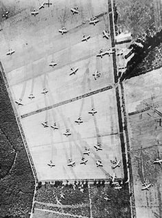 Reconnaissance aerial photo showing British Horsa and Hamilcar gliders on Landing Zone 'Z' near Wolfheze woods, west-north-west of Arnhem, Operation Market I, 17 Sep 1944