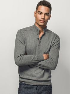 RAISED-COLLAR BUTTONED SWEATER