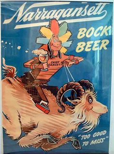 Seuss - a vintage advertising Mad Man - click through to see his wonderful ad illustration collection - here's one for Narragansett Bock Beer - Poster by Dr. Vintage Advertisements, Vintage Ads, Vintage Posters, Narragansett Beer, Craft Beer Week, Bourbon County Stout, American Beer, Beer Poster, Beer Art