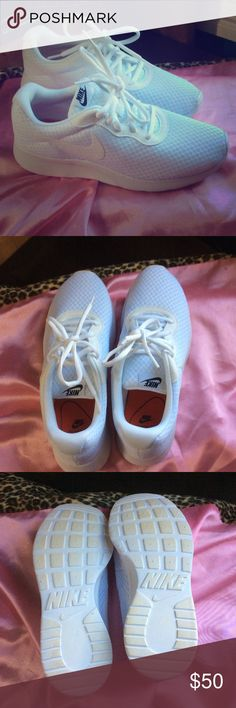 Women's Nike Tanjun Comfy White breathable mesh material sneakers. Worn once but have to sell because they are not my size unfortunately. My loss is your gain 😊, will ship with box. Nike Shoes Sneakers