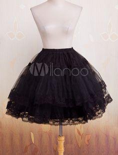 0fa55cbc4e09 Bell Shape Black Organza Lolita Petticoat Lace Trim