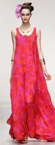 Bright colours at ISSA LONDON - LONDON FASHION WEEK SPRING 2013. #pink #dress #floral