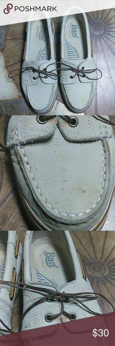 Bass Loafers Bass off white colored leather loafers are washable. Some spots on shoes as shown in pictures. I have not tried to wash them myself. Only worn a few times. Very comfortable shoes. Bass Shoes Flats & Loafers
