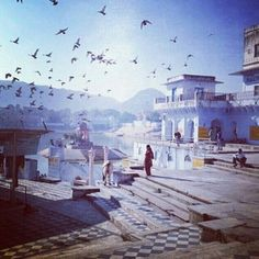 Ghats on #Pushkar Lake. #Rajasthan, #India. Image by @Marie Price
